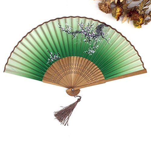 Green Chinese Spun Silk Flower Folding Pocket Hand Fan Party Favors Shower Gifts by Hand Fan