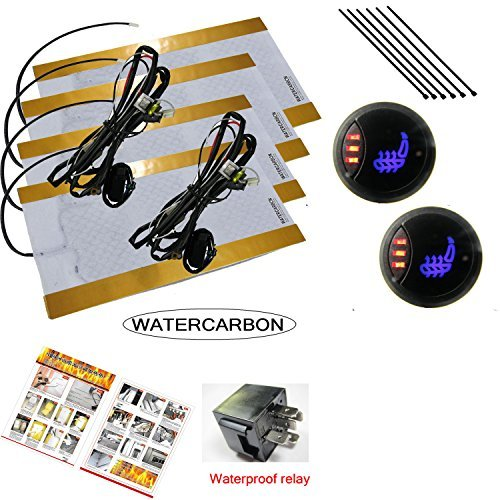 WATERCARBON 3 Files 3 LED red light Switch Built-in Car Heated Seat Heater Pad Car Seat Warmer Covers Kit Uses Carbon Fiber Premium Yellow heating pad 2 Seats