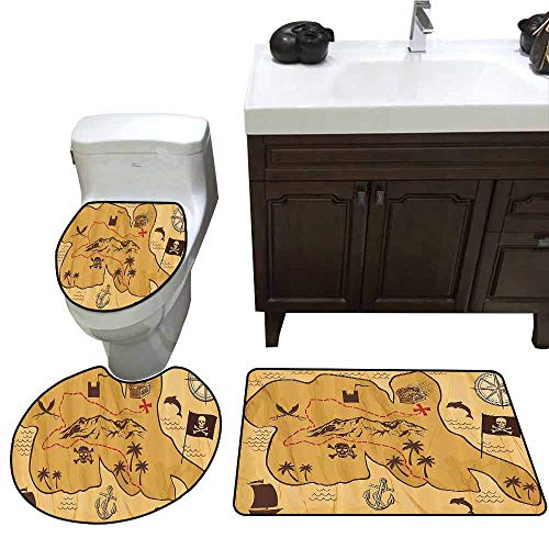 (3 Piece Extended Bath mat Set Compass Decor Collection Antique Map with Rivers and Land Full of Monsters Pirates Giant Creatures Fantasy Art 3D Digital Printing Rug Set Mustard)