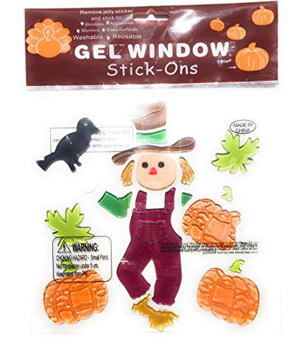 Window Stick Ons - Nantucket Fall Decorations -One Bag of 50 Colorful Artificial Autumn Leaves, Four Window Gel Stick-On Sheets: Football Game Day, Harvest Blessings, Scarecrow, and Pumpkins Bundle