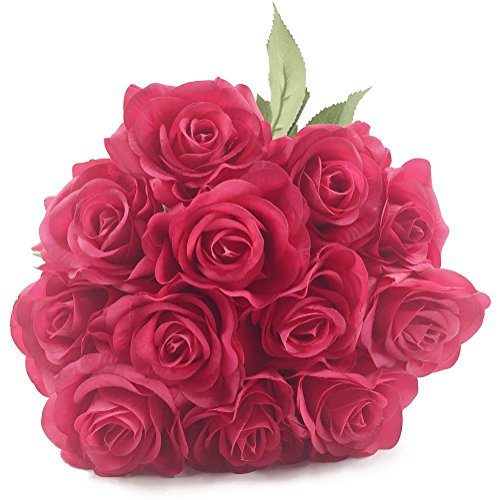 IPOPU 10 Pcs Romantic Real Touch Artificial False Latex Silk Blooming Roses Bouquet Floral Leaf for Home Wedding Party Garden Bridal Hydrangea Decorations DIY (Fushia Rose) (Bouquet Hydrangea Rose)