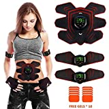 ABS Stimulator Muscle Toner Rechargeable, EMS Abdomen Muscle Trainer with 6 Modes 10 Levels, Muscle Toner Toning Belt for Men Women, Free 10pcs Gel Pads Included