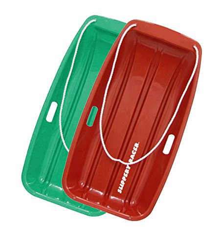 Slippery Racer Downhill Sprinter Snow Sled (2 Pack), Red/Green