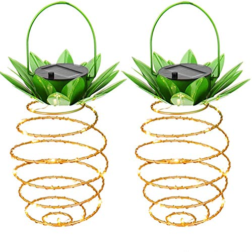 2Pcs Monoche Outdoor Solar Lights String Fairy Firefly Creative Pineapple Shape Lighting Perfect for Home Patio Yard Decor