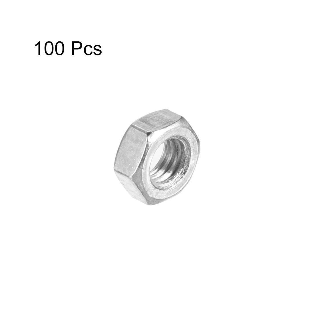 M3x0.5mm Metric Coarse Thread Hexagon Nut Pack of 100 Carbon Steel Silver Tone uxcell Hex Nuts