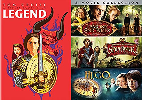 Enter a world of unicorns Fantasy Film Collection: Legend Limited Edition Pop Art Cover + Hugo / The Spiderwick Chronicles & Lemony Snicket's Series of Unfortunate Events DVD 4 movie Bundle (Hugo Art Limited Edition)