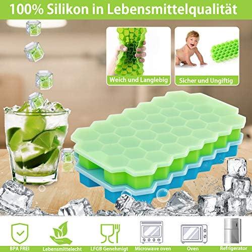 QcoQce Eiswürfelform Silikon, 2 Packs Eiswürfelschale Silikonform mit Deckel 74 Fach Eisform Ice Cube Tray Eisformen BPA Frei Eiswürfel Form für Family, Party und Bars (Grün Blau)