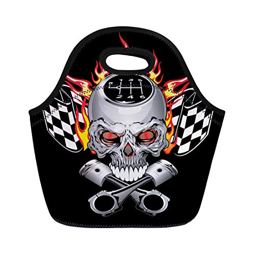 Semtomn Neoprene Lunch Tote Bag Car Race Skull Piston Decal Flame Graphic Cross Fire Reusable Cooler Bags Insulated Thermal Picnic Handbag for Travel,School,Outdoors, Work
