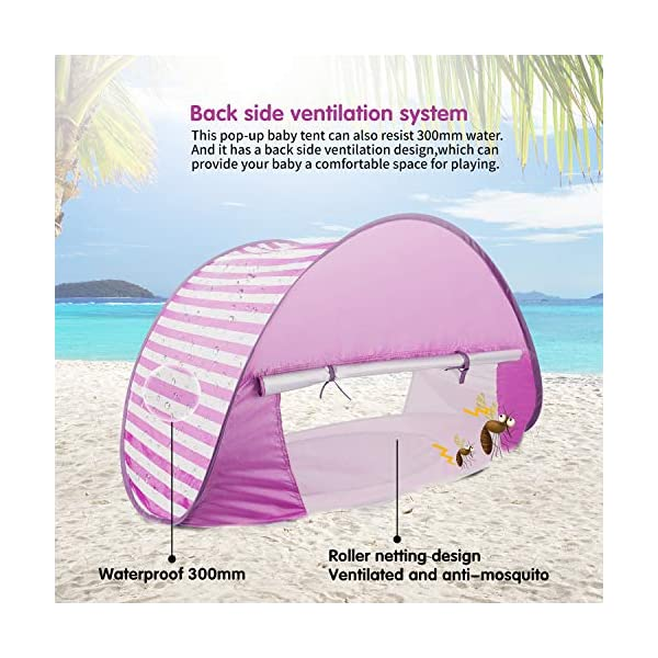 Yalojan Tenda da Spiaggia per Bambini, Pop-up Tenda per Bambini con Piscina per Bambini,Tenda Pieghevole Portatile… 3 spesavip