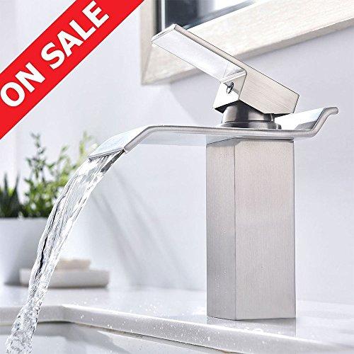 Vanity Sink Faucet (KINGO HOME Commercial Lavatory Single Handle Vanity Waterfall Bathroom Sink Faucet, Brushed Nickel)