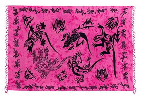 Sarong Pareo Dhoti Lunghi ca. 170cm x 110cm Pink Batik mit Schwarzem Gecko Motiv Handgefertigt
