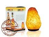 Lahooti Original Supreme Natural Himalayan Glow Salt lamp Night Light .ETL Certified Himalayan Pink Salt lamp with Wood Base/Salt lamp Light Bulbs and Dimmer Control, Crystal, 5-7 lbs