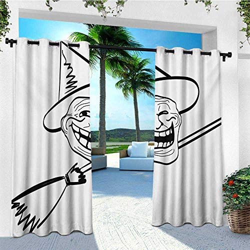 leinuoyi Humor, Outdoor Curtain Wall, Halloween Spirit Themed Witch Guy Meme LOL Joy Spooky Avatar Artful Image Print, Balcony Curtains W84 x L96 Inch Black and White -