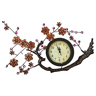 Lulu Decor, Hanging Branch Wall Clock, Frame Size 21  x 11.5 , Dial Size 4.75  (Branch Clock)