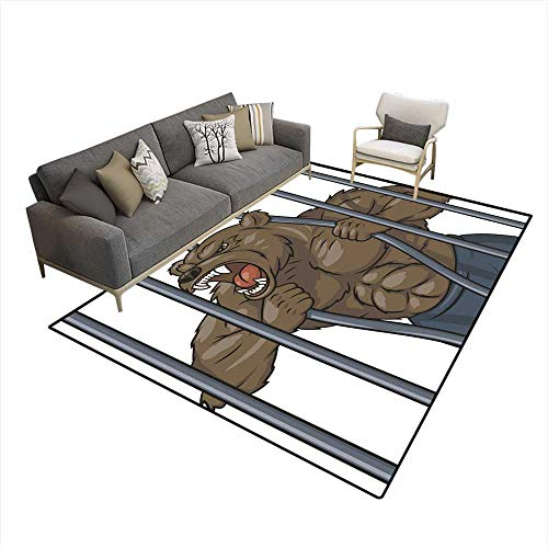 Cage Scrollwork (Room Home Bedroom Carpet Floor Mat Angry Bear in cage)