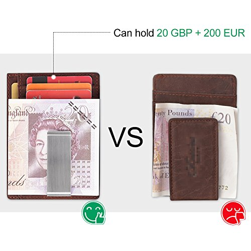 Leather Full Red Grain Wallet Brown Clip Money Vintage Metal Mens Large Clip Blocking RFID Brown Men Leather Slim for q7wwTpcv