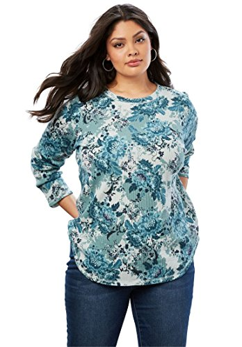Roamans Women's Plus Size Thermal Print Tee - Teal Shadow Floral, L -