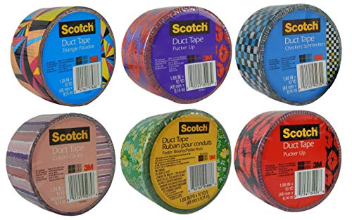 Scotch Brand Craft Weight Duct Tape Designs Multi Pack Bundle 6-Rolls Each Roll 1.88 Inches Wide by 10 Yards Long (Multi Set 39) ()