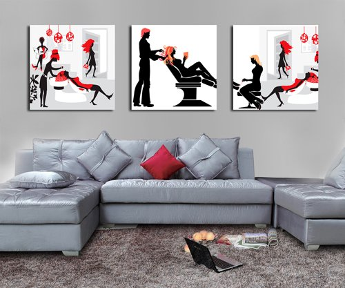 - Spirit Up Art Huge Hair Salon Picture Painting on Canvas Print without framed, Modern Home Decorations Wall Art set of 3 Each is 5050cm #cy-652