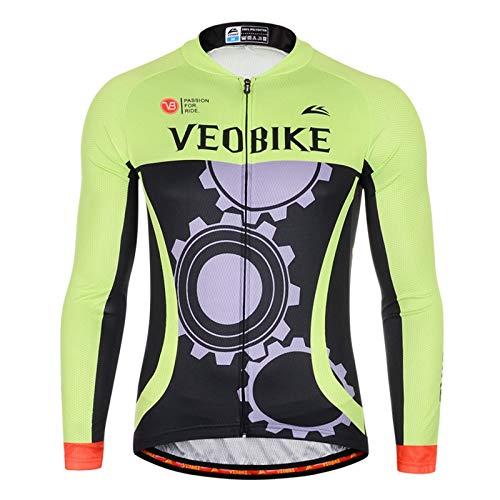 Epinki Hombre Primavera Verano Otoño Ciclismo Camisa Verde para Al Aire Libre y Multi Deportes Ciclismo Camisa Tamaño XL