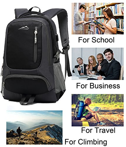 0f15e833f66e School Backpack Bookbag With USB Charging Port For College Travel Hiking  Fit Laptop Up to 15.6