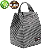 Insulated Lunch Bags for Women Teens Girls Tall Cute Lunch Tote for Meal Prep Large Freezable Lunch Cooler Bag Reusable Lunch Box Black and White Stripes