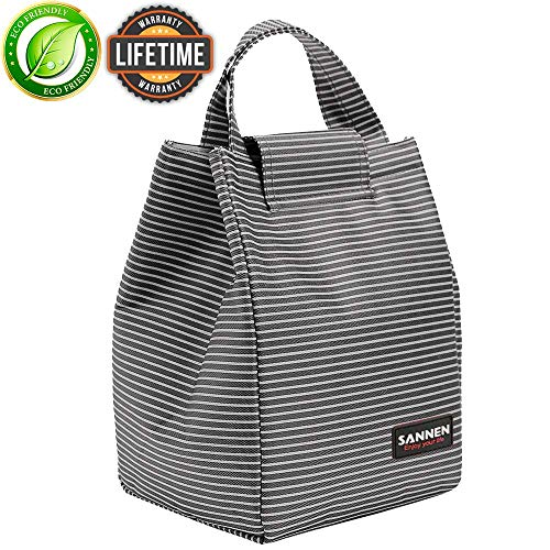 Insulated Lunch Bags for Women Teens Girls Tall Cute Lunch Bag for Meal Prep Large Freezable Lunch Cooler Bag Reusable Lunch Box Black and White Stripes
