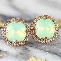 Bridal Green Opal Rose Gold Stud Earrings, Swarovski Mint Crystal Bridesmaids Gifts, Handmade Wedding Jewelry