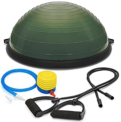 Ovillow Yoga Exercise Ball, Premium Pro Balance Trainer Half Yoga Ball in Army Green Color is a Complete DIY KIT for Yoga & Balance Training with Instruction Manual