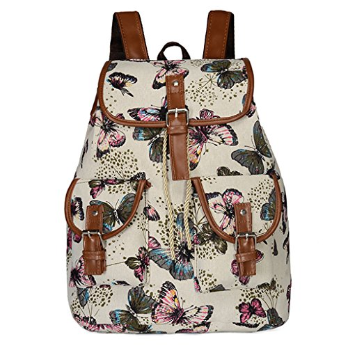 Bduco Butterfly Elephant Rose Print Canvas Vintage Backpack, Travel School Bag Backpack for Women (Butterfly) ()
