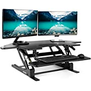 "VIVO Black Corner Standing Height Adjustable Cubical Sit to Stand - 43.5"" Wide Tabletop Desk Riser (DESK-V000VC)"