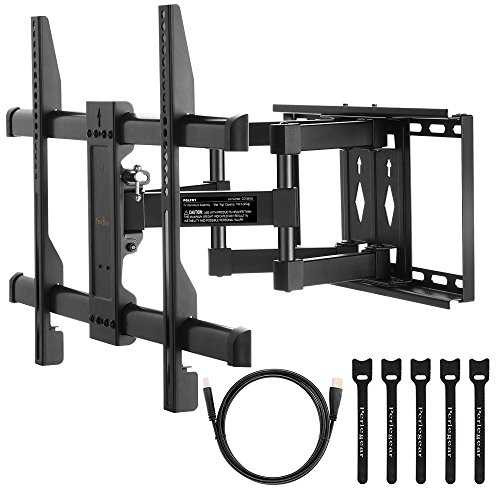 TV Wall Mount Bracket Full Motion Dual Articulating Arm for most 37-70 Inch LED, LCD, OLED, Flat Screen,Plasma TVs up to VESA 600x400mm with Tilt, Swivel and Rotation Includes HDMI Cable by Perlegear
