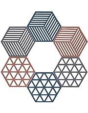 Bordsmattor halkfria grytlappar underlägg återanvändbara hexagon kopp matta för köksbord skål rätter 6-pack