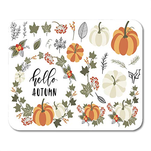 - Emvency Mouse Pads Orange Harvest Collection of Autumn and Fall Clip Pumpkin Leaf Wreath Branch Berry Thanksgiving Mousepad 9.5