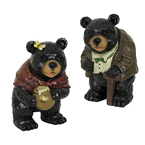 Exhart Grandma Grandpa Bear Statues, Set of 2, Resin, Weather Resistant, Indoors & Outdoors, 8