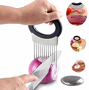Xben Onion Holder Stainless Steel Vegetable Potato Cutter Fork Slicer With Odor Remover Kitchen Tool Aid Gadget Cutting Chopper