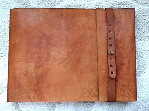 9.5'' x 12'' Large Refillable Leather Sketchbook, Straight Edge with Metal Stud, leather sketchbook cover, large journal, guest book, refillable sketchbook, drawing book, sketching, drawing, art by ZenfishLeather