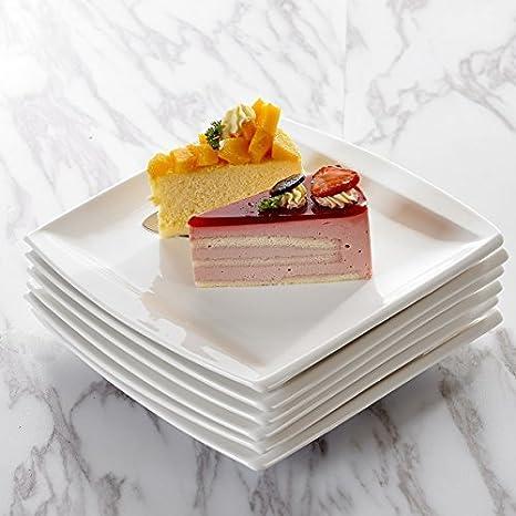 MALACASA Assiettes /à G/âteau Plats 12pcs Assiettes /à Dessert Porcelaine S/érie Blance