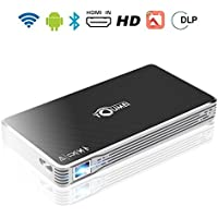 Toumei Mini Projector Portable Pico Projector, HD for iPhone Android Laptop Computer, Support 1080P HDMI USB TF Card Wifi Bluetooth for Home Theater Cinema Movie Keystone Correction