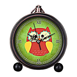 Vintage Retro Living Room Decorative Non-ticking, HD Glass Lens, Easy to Read, Quartz, Analog Large Numerals Bedside Table Desk Alarm Clock-303.owl colorful funny