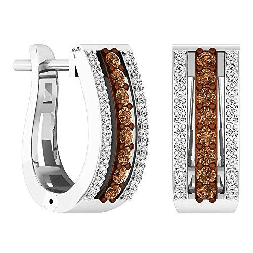 Dazzlingrock Collection 0.45 Carat (ctw) 14K Round Champagne & White Diamond Ladies Huggies Hoop Earrings 1/2 CT, White Gold ()