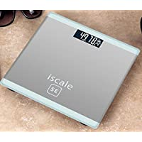 LCD Display Digital Body Weight Bathroom Scale with Step-On Technology 400 Pounds, Tempered Glass, Digital Weight Scale Backlit (Sliver)