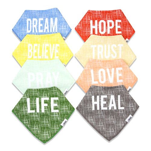 Baby Bandana Drool Bibs for Boys & Girls, 8-Pack Organic Absorbent Drooling & Teething Bib Set by Matimati HOPE