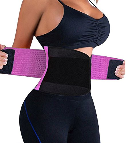 (KOOCHY Women's Waist Trainer Belt - Waist Cincher Trimmer - Slimming Body Shaper Belt - Sport Girdle Belt for Weight Loss(Purple,XX-Large))