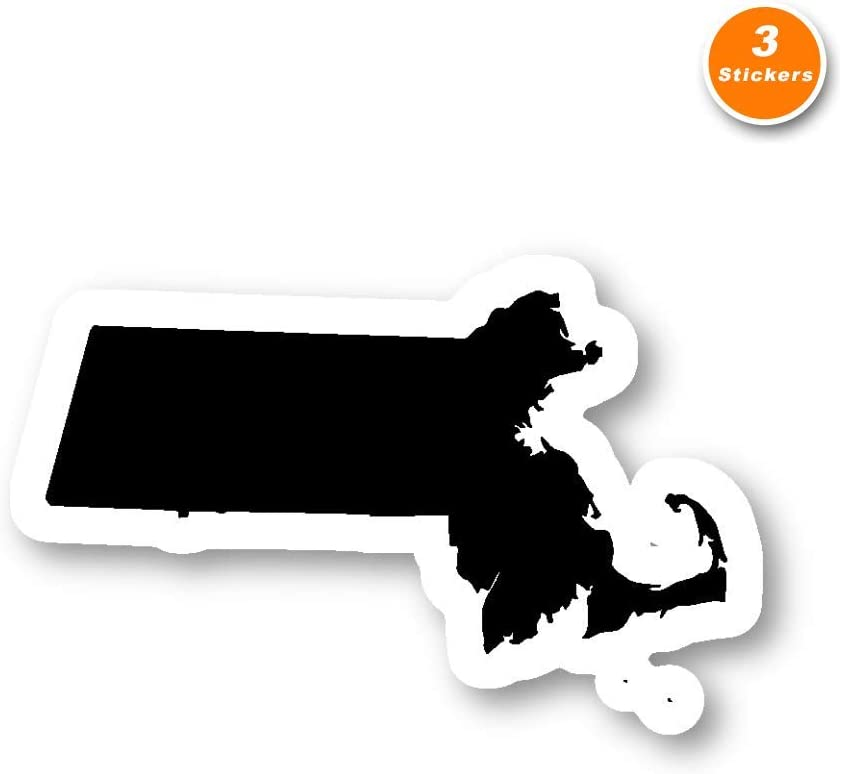 Massachusetts Sticker States Stickers - 3 Pack - Set of 2.5, 3 and 4 Inch Laptop Stickers - for Laptop, Phone, Water Bottle (3 Pack) S214367