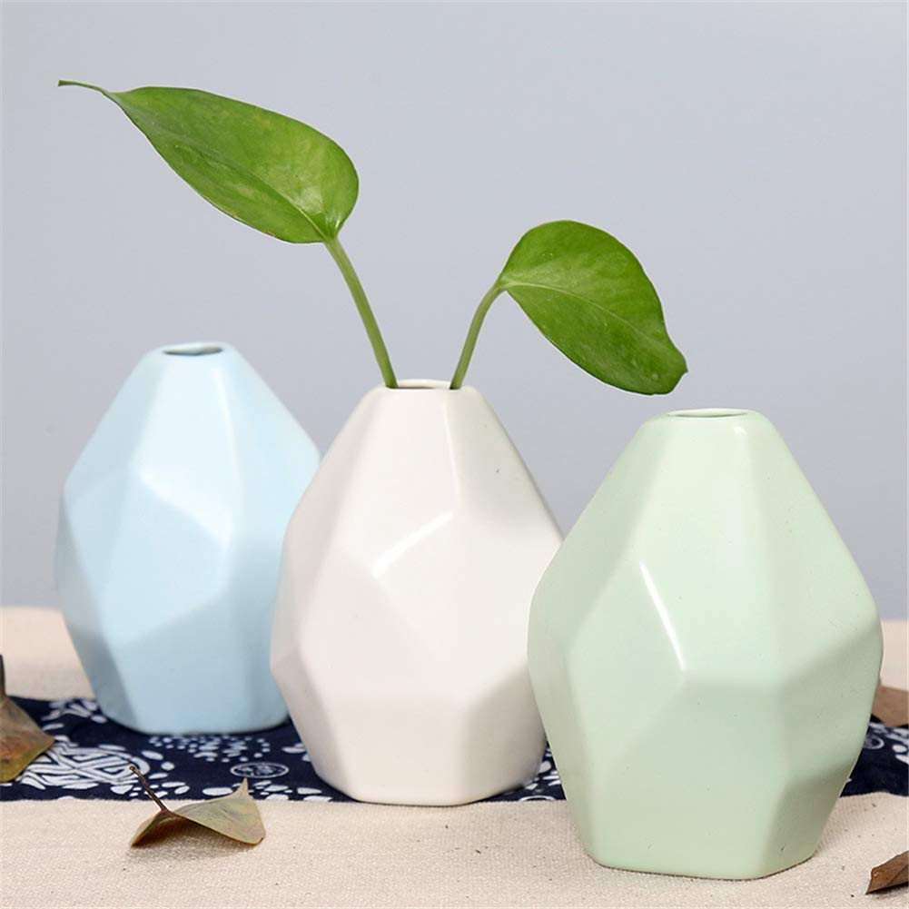 Ruikey Peque/ño jarr/ón de cer/ámica Artesan/ía Artesanal Geometr/ía Plantas de Flores secas Jarr/ón para Oficina Decorar Adornos Azul