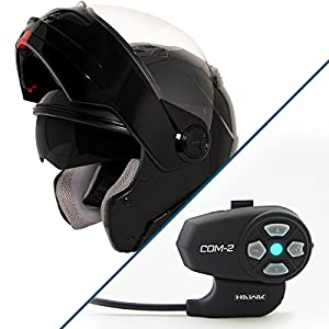 Hawk ST-1198 Transition 2-in-1 Gloss Black Modular Helmet with Hawk COM-2 Bluet - Large w/ COM-2 Intercom