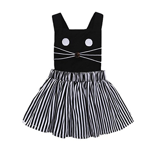 CSSD Toddler Kids} {Baby Girls} {Cat Kitty & Stripe Print} {Sleeveless} {Princess Dress} Clothes (3T, Black)