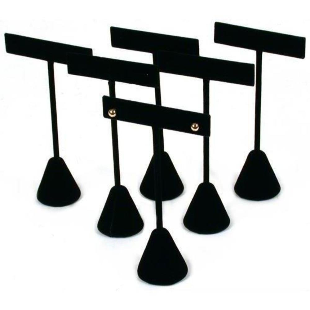 6 Black Velvet Earring T Stand Showcase Displays 4.75''