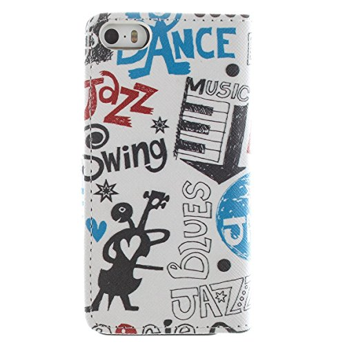 Più colorate Ancerson in pelle PU Flip Custodia per cellulare per Apple iPhone 5/5S/5G in pittura ad olio Stil Colorful Painting Custodia Flip Case Custodia in similpelle custodia per cellulare con fu Graffiti